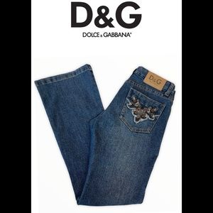 Dolce & Gabbana boot cut embroidered jeans size 27